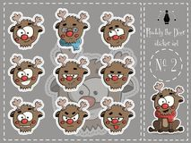 Sticker Set of Ruddy the deer 2 vector Royalty Free Stock Photography