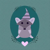 Cute sticker sign with an adorable cartoon styled raccoon. Sitting in a teal oval decorated with olive branches and a pink heart on a dotted green background Stock Images