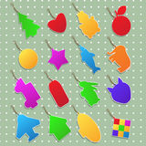 Cute stickers. Collection of stickers in different shapes and colors Stock Photos