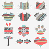 Cute stickers. Set of cute stickers with stripes stock illustration