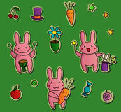 Cute stickers with bunnies Stock Images