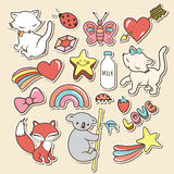 Cute stickers collections isolated with white strokes and shadows on brown background. Stock Photography