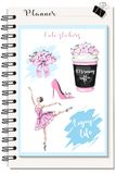 Cute stickers for Planner: coffee cup with flowers, flower bouquet, beautiful ballerina. Pink shoe. Fashion stickers set. Sketch. Vector illustration stock illustration