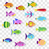Cute stickers of sea marine fish. Vector set  on the transparent Royalty Free Stock Photo
