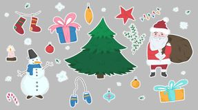 Cute stickers set of doodle Christmas elements. Cute big colorful stickers set of doodle Christmas elements including fir, Snowman, Santa Claus, giftboxes stock illustration