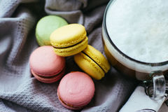 Cute still life with coffee and macaroons. Cute still life with coffee and macaroons Stock Image