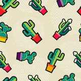 Cute stitching cactus plant icons seamless pattern. Seamless pattern with stitching patch garden cactus plant icons, green nature cartoon background. EPS10 Stock Photography