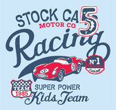 Cute stock car racing team. Vector print for children wear with embroidery patches stock illustration