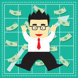 Cute Stock Market Investor Flat Cartoon. Design stock illustration