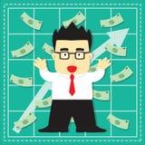 Cute Stock Market Investor Flat Cartoon Stock Image