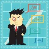 Cute Stock Market Investor Flat Cartoon Stock Photography