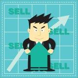 Cute Stock Market Investor Flat Cartoon Royalty Free Stock Photography