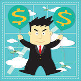 Cute Stock Market Investor Flat Cartoon Royalty Free Stock Photos