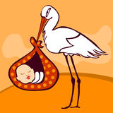 Cute stork arriving with baby. Cute stork arriving with pretty newborn baby Royalty Free Stock Images