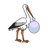 Cute stork with baby bag. Isolated outline illustration of funny stork bearing a baby bag, refers to pregnancy and baby Royalty Free Stock Image