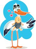 Cute Stork with Baby in Sling Vector Illustration Stock Photos