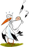 Cute stork carrying a baby boy Stock Image