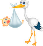 Cute stork carying baby cartoon Royalty Free Stock Photography