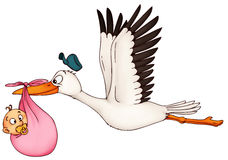 A cute stork delivering a baby Stock Image