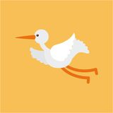 Cute stork flying Royalty Free Stock Images
