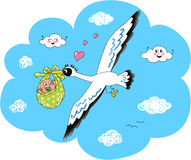 Cute stork with newborn baby Royalty Free Stock Images