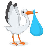 Cute Stork with Newborn Baby Boy Royalty Free Stock Images