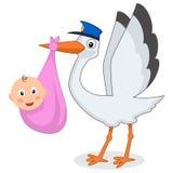 Cute Stork with Newborn Baby Girl & Hat Stock Image