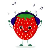 A cute Strawberry character in cartoon style listening to music on headphones. Vector illustration, a flat style vector illustration