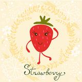 Cute strawberry character illustration Stock Images