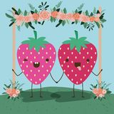 Cute strawberry couple in landscape kawaii character. Vector illustration design Royalty Free Stock Photography