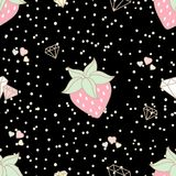 Cute strawberry and decorated with hearts and diamonds seamless. Pattern on black background and snow dot in pastel theme Royalty Free Illustration