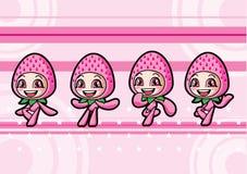 Cute strawberry girl Stock Photos
