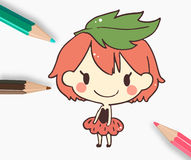 Cute strawberry girl  painted color pencil.vector illustration Stock Image