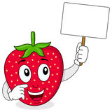 Cute Strawberry Holding a Blank Banner Royalty Free Stock Photo