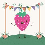 Cute strawberry in landscape kawaii character. Vector illustration design Stock Images