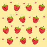 Cute strawberry wallpaper. With pastel yellow background Stock Photo