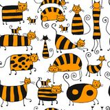 Cute striped cats family, seamless pattern for your design Royalty Free Stock Image