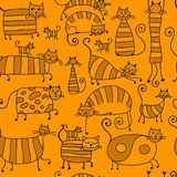 Cute striped cats family, seamless pattern for your design Stock Images