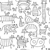 Cute striped cats family, seamless pattern for your design Royalty Free Stock Photography