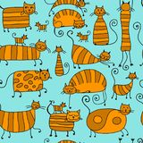 Cute striped cats family, seamless pattern for your design. Vector illustration Stock Photo