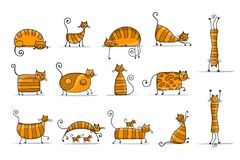 Cute striped cats family, sketch for your design vector illustration