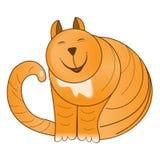 Cute striped cheerful redhead funny fat cat. Stock Photo