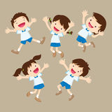 Cute student boy and girl jumping be happy various actions. Little kids smiling and jumping together vector illustration