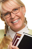 Cute Student with Braces Carrying Her Books Royalty Free Stock Photos
