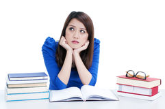 Cute student in deep thought Stock Photo
