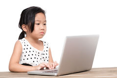 Cute student girl with laptop computer on the table Stock Photos