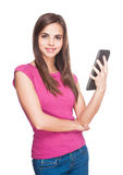Cute student holding tablet computer. Royalty Free Stock Photography