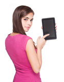 Cute student holding tablet computer. Stock Photos
