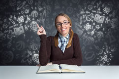 Cute student siting front open book royalty free stock photos