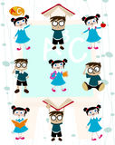Cute students cartoon set Royalty Free Stock Photo